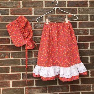 Handmade vintage skirt & matching bonnet